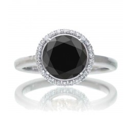 1.25 Carat Round Cut Classic Halo Black Diamond and Diamond Engagement Ring on 10k White Gold