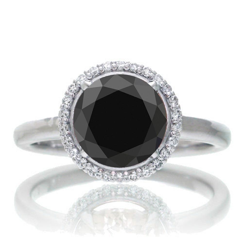 125 Carat Round Cut Classic Halo Black Diamond And Diamond Engagement Ring  On 10k White Gold