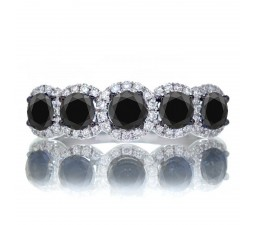 1.5 Carat round cut Classic five stone Black Diamond and white diamond Wedding band on 10k White Gold