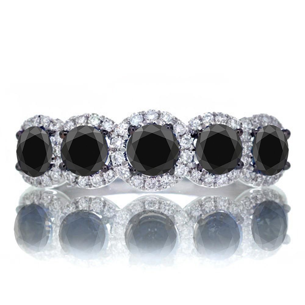 15 carat round cut classic five stone black diamond and white diamond wedding band on 10k white gold