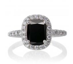 1.5 Carat Cushion Cut Black Diamond Antique Diamond Engagement Ring  on 10k White Gold