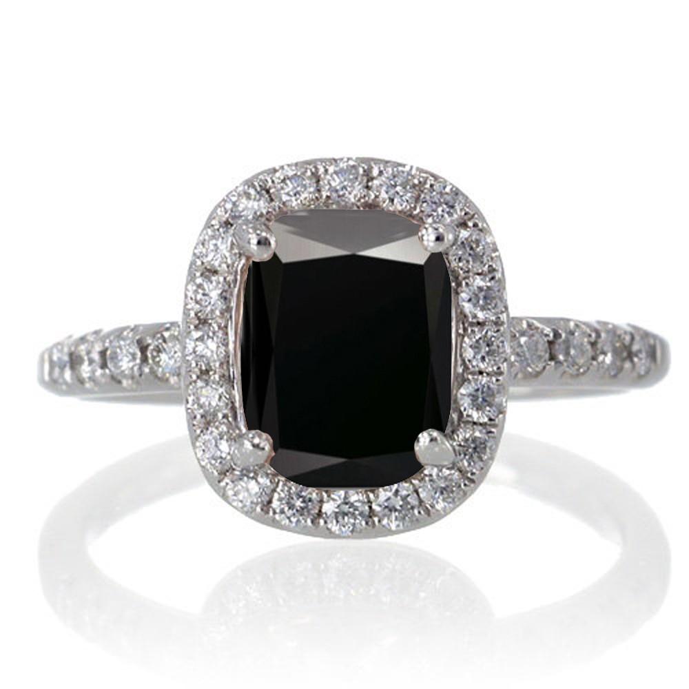 15 Carat Cushion Cut Black Diamond Antique Diamond Engagement Ring On 10k  White Gold