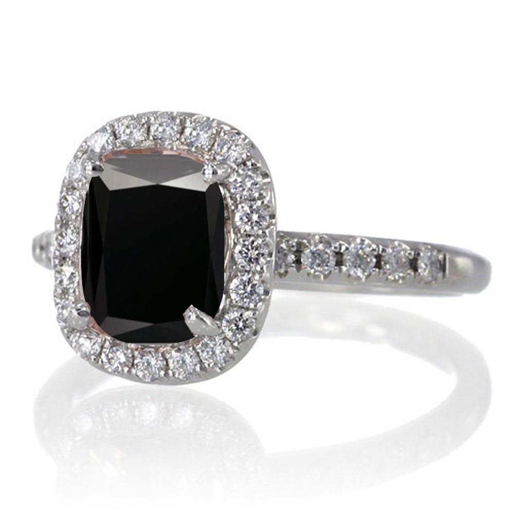 ... 1.5 Carat Cushion Cut Black Diamond Antique Diamond Engagement Ring on  10k White Gold ...