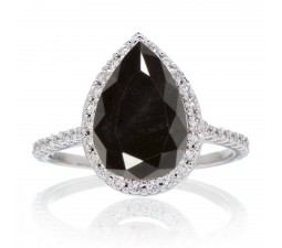 2.5 Carat Pear Cut Black Diamond Halo Desiger Engagement for Woman on 10k White Gold
