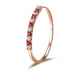 Beautiful Ruby and Diamond Wedding Band on 18k Rose Gold