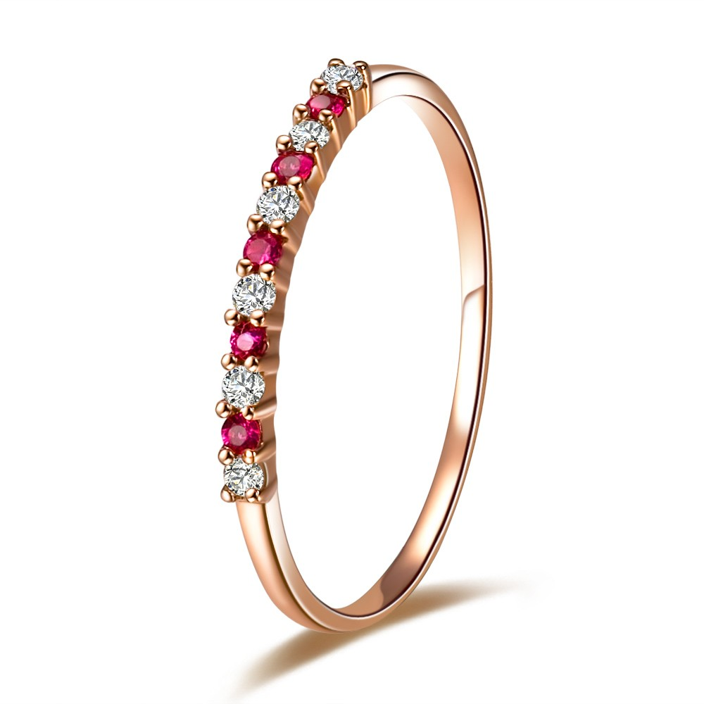 affordable ruby and diamond wedding band on 9ct rose gold