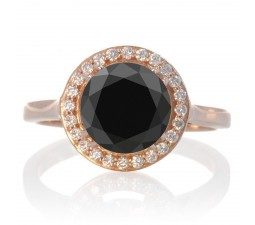 1.25 Carat Round Halo Classic Diamond and Black Diamond Engagement Ring on 10 Rose Gold