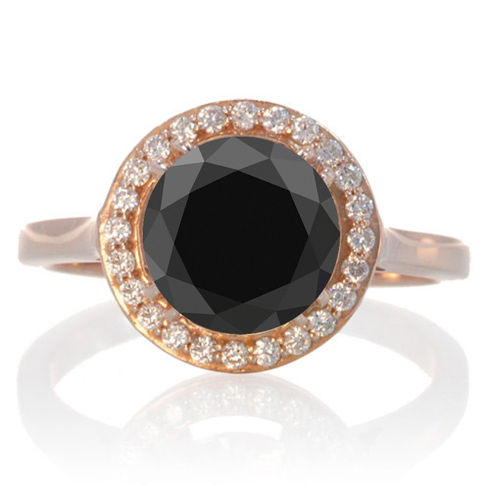 125 Carat Round Halo Classic Diamond And Black Diamond Engagement Ring On  10 Rose Gold