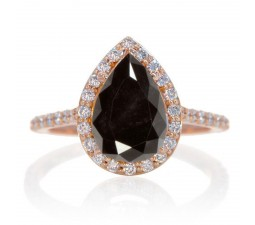 1.5 Carat Pear Cut Black Diamond Halo Desiger Engagement for Woman on 10k White Gold