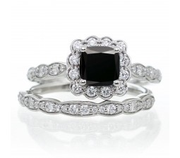2 Carat Princess Cut Black Diamond and Diamond Wedding Ring set on 10k White Gold