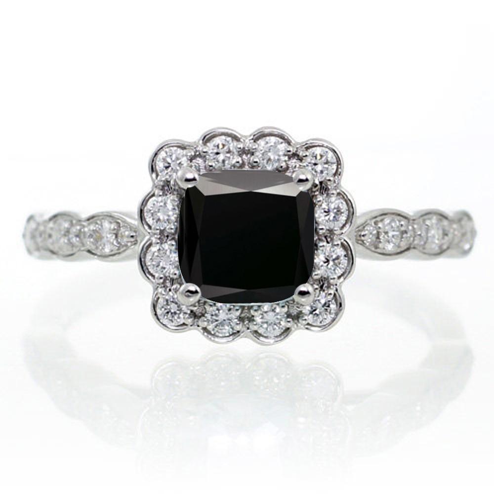 2 Carat Princess Cut Black Diamond And Diamond Wedding Ring Set On 10k  White Gold