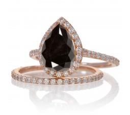 2 Carat Black Diamond and Diamond Halo Bridal Ring Set on 10k Rose Gold