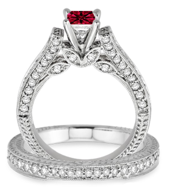 Antique Style Ruby Engagement Rings