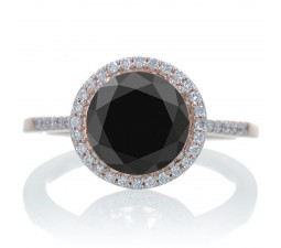 2.5 Carat Huge Black Diamond and Diamond Halo Classic Engagement Ring on 10k Rose Gold