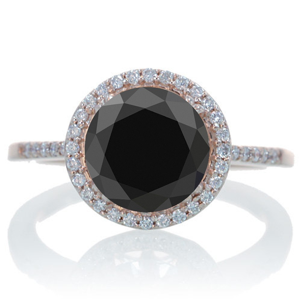 25 Carat Huge Black Diamond And Diamond Halo Classic Engagement Ring On  10k Rose Gold