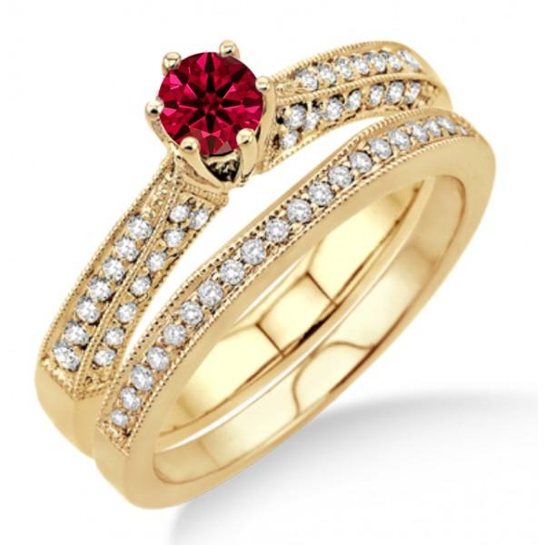 2 Carat Ruby Amp Diamond Antique Bridal Set Engagement Ring On 10k Yellow Gold