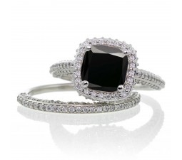 2.5 Carat Cushion Cut Designer Black Diamond and Diamond Halo Wedding Ring Set on 10k White Gold