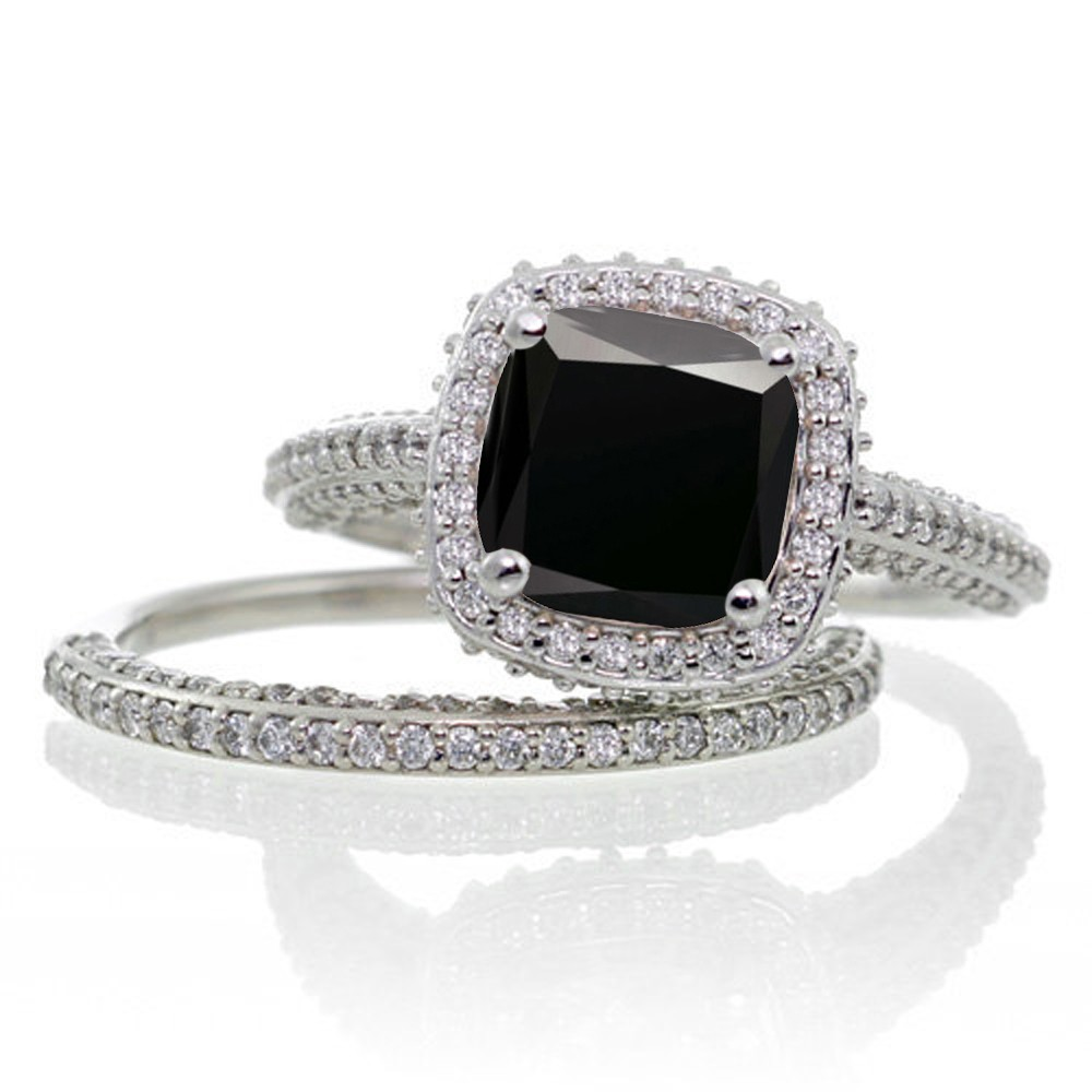25 Carat Cushion Cut Designer Black Diamond And Diamond Halo Wedding Ring  Set On 10k White