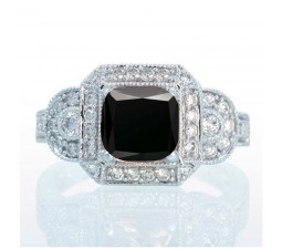 1.5 Carat Vintage Princess Cut Black Diamond and Diamond Designer Halo Engagement Ring on 10k White Gold