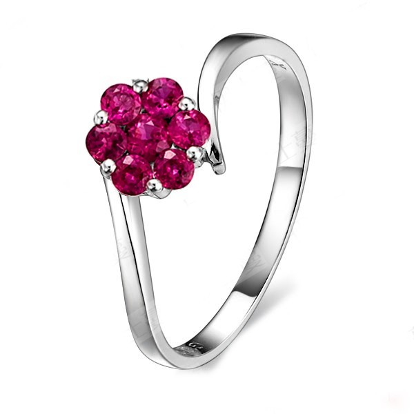Beautiful Ruby Wedding Ring On 9ct White Gold