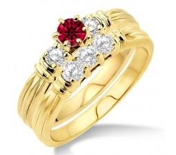 1.25 Carat Ruby & Diamond Three Stone Bridal Set  on 10k Yellow Gold
