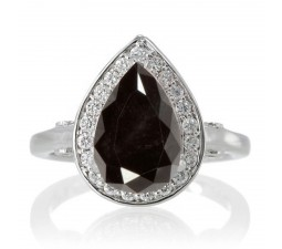 1.5 Carat Pear Cut Halo Black Diamond Engagement Ring  on 10k White Gold