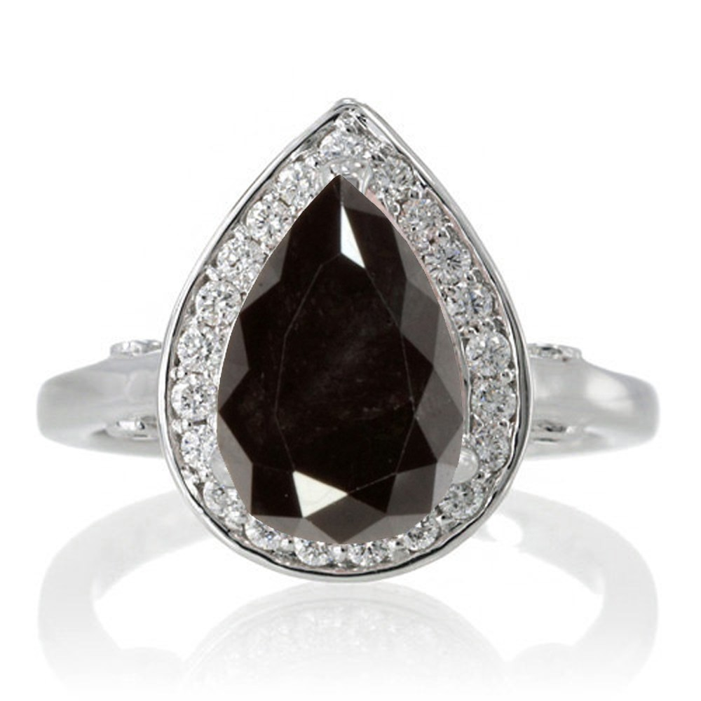 15 Carat Pear Cut Halo Black Diamond Engagement Ring On 10k White Gold