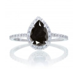1.5 Carat Classic Pear Cut Black Diamond With Diamond Celebrity Engagement Ring on 10k White Gold