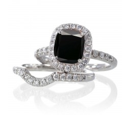 2 Carat Unique Black Diamond and diamond Bridal Ring Set on 10k White Gold
