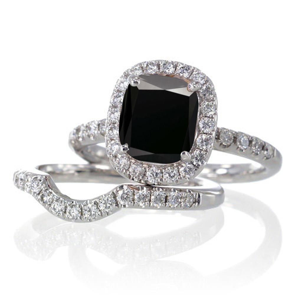 2 Carat Unique Black Diamond And Bridal Ring Set On 10k White Gold