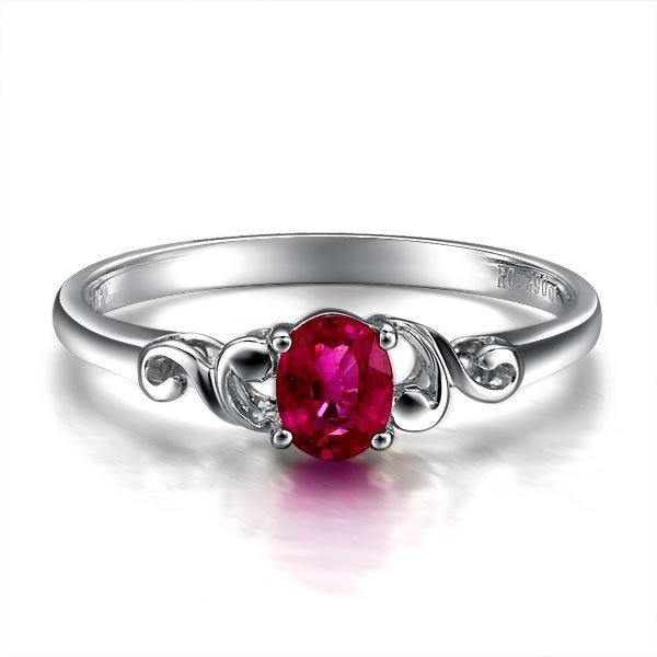 beautiful solitaire ruby engagement ring on 9ct white gold