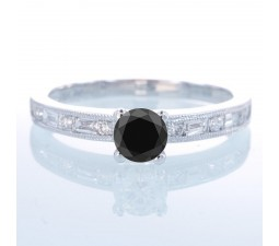 1.5 Carat Round cut Vintage Black Diamond and Diamond Engagement Ring on 10k White Gold