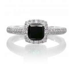 2 Carat Vintage Halo Black Diamond and Diamond Engagement Ring on 10k White Gold