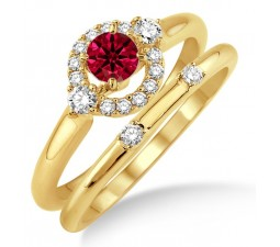 1.25 Carat Ruby & Diamond Elegant Flower Halo Bridal Set  on 10k Yellow Gold