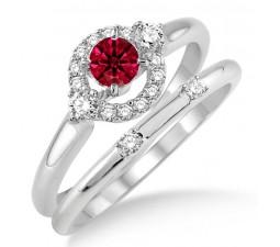 1.25 Carat Ruby & Diamond Elegant Flower Halo Bridal Set  on 10k White Gold