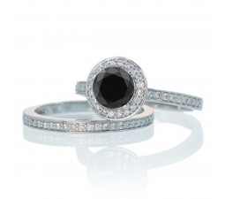 2 Carat Unique Classic Halo Round Black Diamond and Diamond Bridal Ring Set on 10k White Gold
