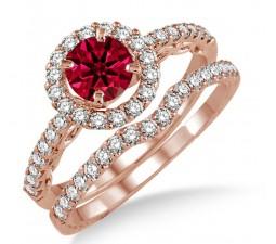 1.5 Carat Ruby & Diamond Antique Floral Halo Bridal set on 10k Rose Gold