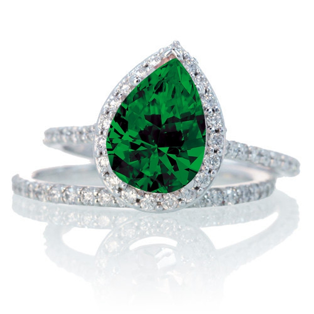 2 Carat Pear Cut Emerald Halo Bridal Set for Woman on 10k White Gold JeenJe
