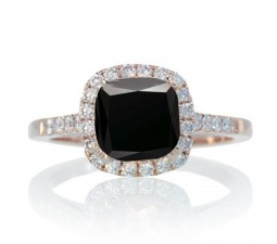 1.5 Carat Perfect Cushion Black Diamond and Diamond Engagement Ring on 10k Rose Gold