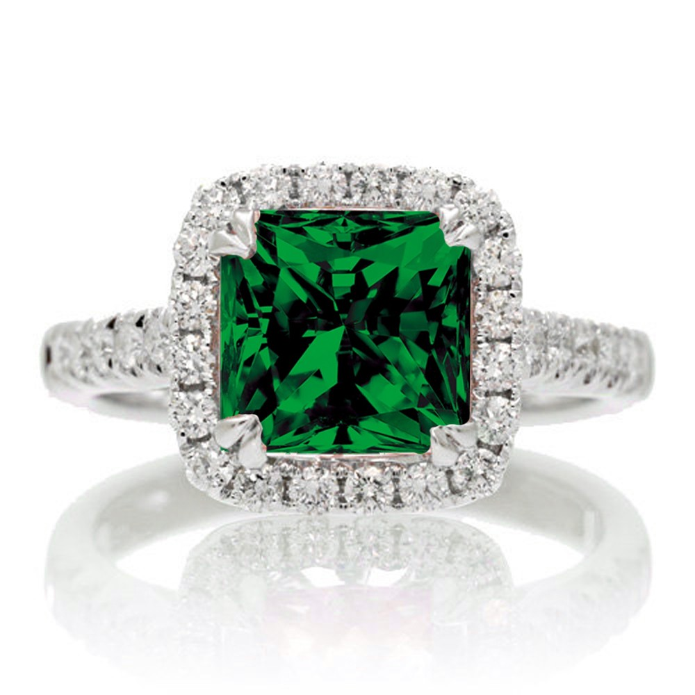 1 5 Carat Cushion Cut Emerald Halo Engagement Ring for Women on 10k White Gol