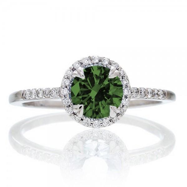 1 5 Carat Round Cut Emerald Halo Classic Diamond