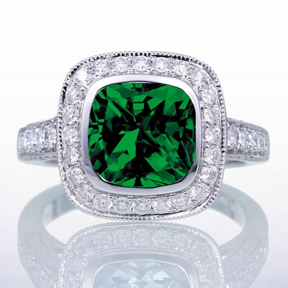 1 5 Carat Cushion Cut Emerald And Diamond Halo Vintage