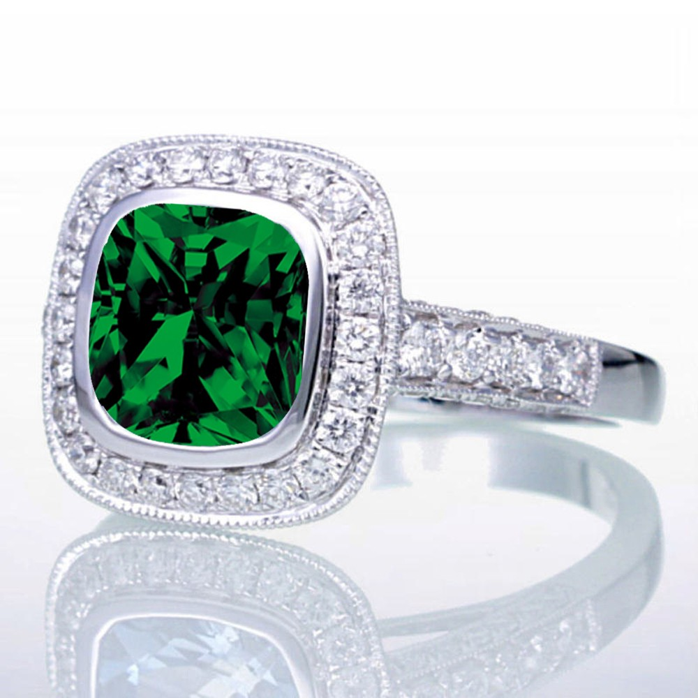 15 Carat Cushion Cut Emerald And Diamond Halo Vintage Engagement Ring  For Women On 10k White