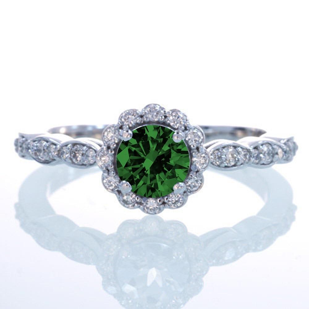 15 Carat Round Cut Emerald And Diamond Flower Vintage Designer