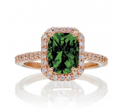 1.5 Carat Emerald Cut Emerald and Diamond Halo Engagement Ring on 10k Rose Gold