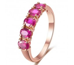 Beautiful Ruby Wedding Band on 18k Rose Gold