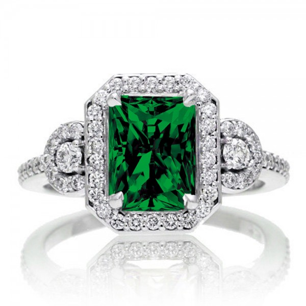 2 Carat Emerald Cut Emerald and White Diamond Halo Engagement Ring on 10k Whi