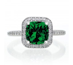 1.5 Carat Princess Cut Emerald Classic Halo Engagement Ring on 10k White Gold