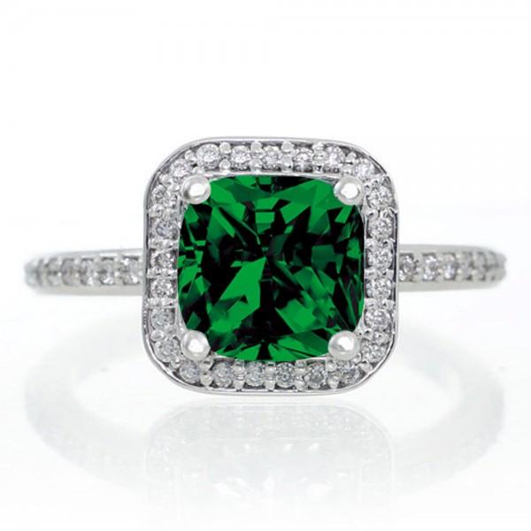 1 5 Carat Princess Cut Emerald Classic Halo Engagement Ring On 10k White Gold Jeenjewels
