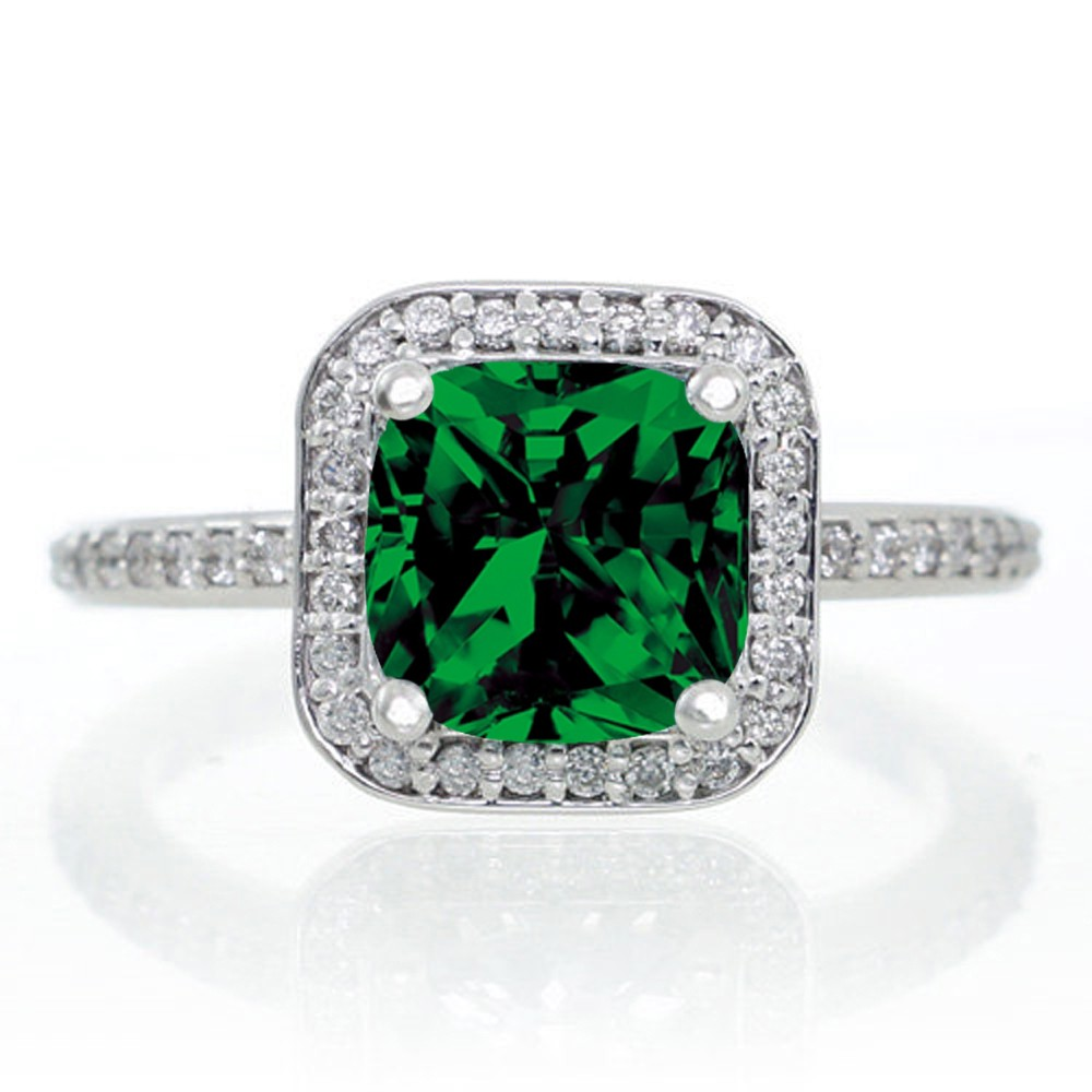 1 5 carat princess cut emerald classic halo engagement